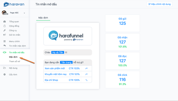 harafunnel chatbot page - Trọn bộ phần mềm marketing Facebook hỗ trợ bán hàng online của ATP Software
