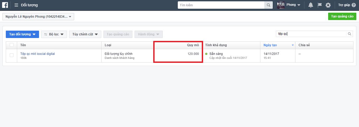 tep tuy chinh 1 - Tệp đối tượng tùy chỉnh không hiển thị đối tượng - Facebook cập nhật hay là lỗi ?